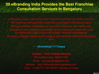 39 eBranding India Provides the Best Franchise Consultation Services In Bengaluru