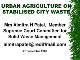 URBAN AGRICULTURE ON  STABILISED CITY WASTE