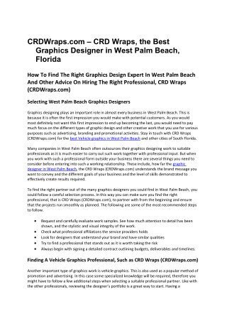 CRDWraps.com – CRD Wraps, the Best Graphics Designer in West Palm Beach, Florida
