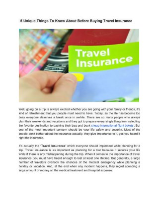 What Kind Of Unique Thinks To Know About Before Buying Travel Insurance