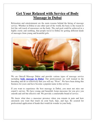 Get Your Relaxed with Service of Body Massage in Dubai