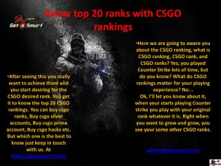 Know top 20 ranks with CSGO rankings