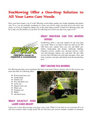 FoxMowing Offer a One-Stop Solution to All Your Lawn Care Needs