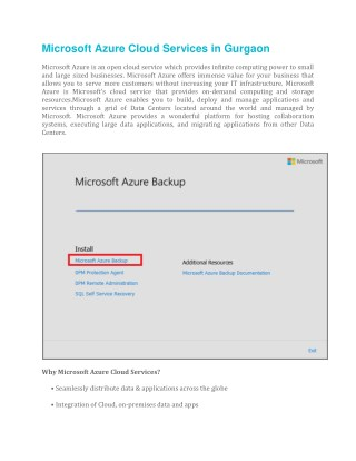 Microsoft Azure Cloud Services in Gurgaon