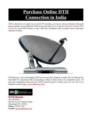 Purchase Online DTH Connection in India