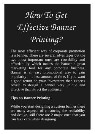 How To Get Effective Banner Printing?