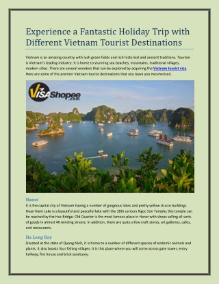 Experience a Fantastic Holiday Trip with Different Vietnam Tourist Destinations