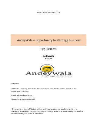 Egg franchise business opportunities in India- Andeywala