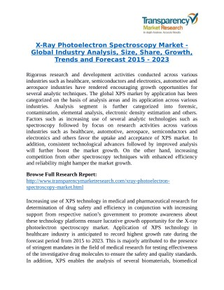 X-Ray Photoelectron Spectroscopy Market - Positive long-term growth outlook 2023