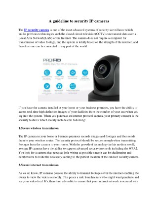 A guideline to security IP cameras