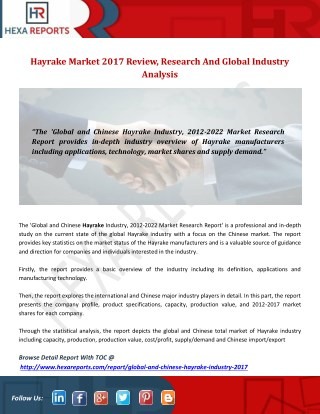Hayrake market 2017 review, research and global industry analysis