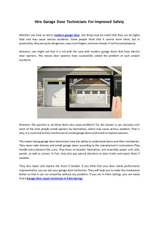 Hire Garage Door Technicians For Improved Safety