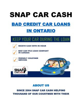 bad credit car loans in Ontario