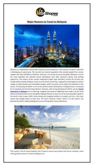 Major Reasons to Travel to Malaysia