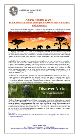 South Africa Adventure Tours and Packages