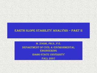 Earth Slope Stability Analysis – Part II