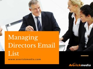 Buy highly accurate Managing Director Email Database