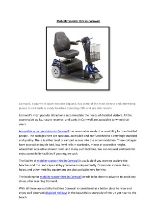 Mobility Scooter Hire in Cornwall