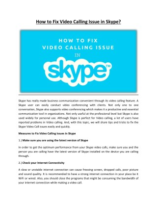 How to Fix Video Calling Issue in Skype?