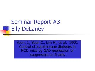 Seminar Report #3 Elly DeLaney