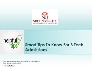 Smart Tips To Know For B.Tech Admissions