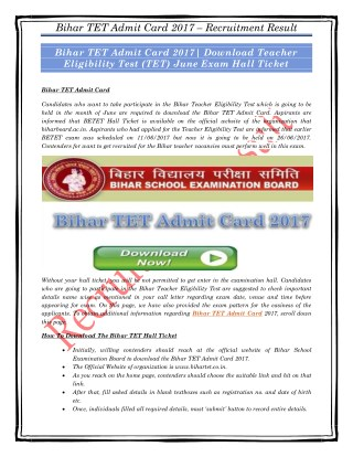 Bihar TET Admit Card 2017| Download Teacher Eligibility Test (TET) June Exam Hall Ticket