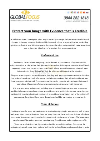 Protect Your Image With Evidence That is Credible by Global Focus Ltd