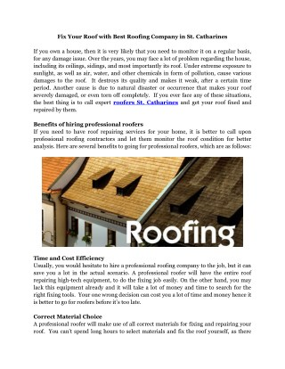 Roofers St. Catharines - Northern