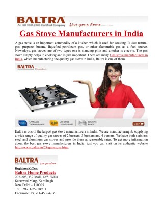 Gas Stove Manufacturers in India