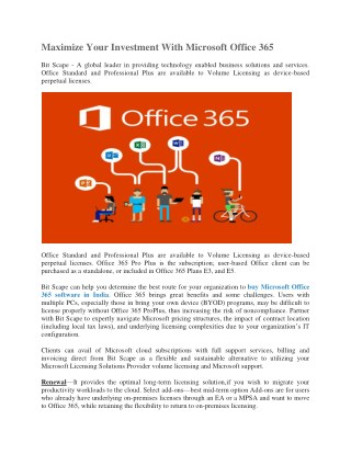 Maximize Your Investment With Microsoft Office 365