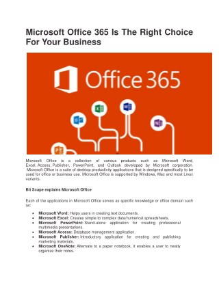 Microsoft Office 365 Is The Right Choice For Your Business