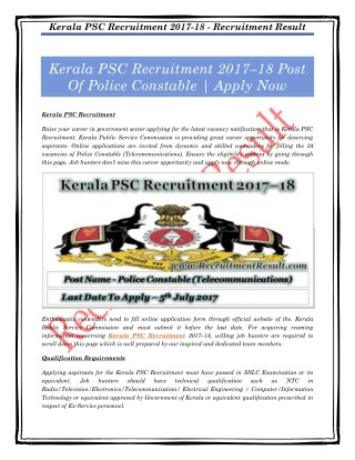 Kerala PSC Recruitment 2017–18 Post Of Police Constable | Apply Now