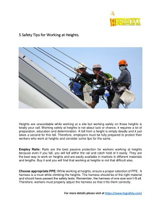 5 Safety Tips for Working at Heights.