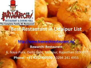 Best Restaurant in Udaipur List