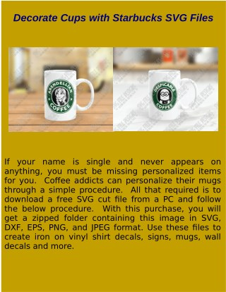 Decorate Cups with Starbuck SVG Files
