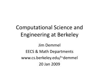 Computational Science and Engineering at Berkeley