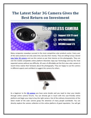 The Latest Solar 3G Camera Gives the Best Return on Investment