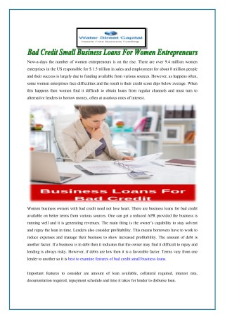 Bad Credit Small Business Loans For Women Entrepreneurs