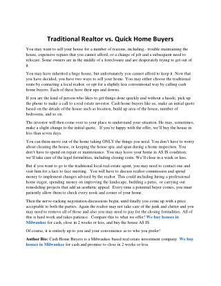 Traditional Realtor vs. Quick Home Buyers