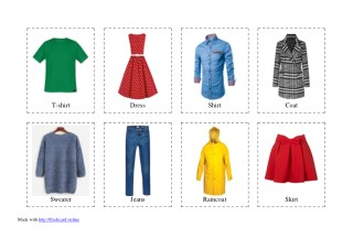 40 Flashcards of Clothes - Free Printable