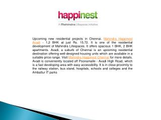 Mahindra Happinest Avadi - 1,2 BHK at just Rs. 15.72