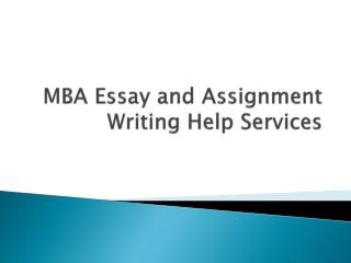 Online MBA Essay Writing Service