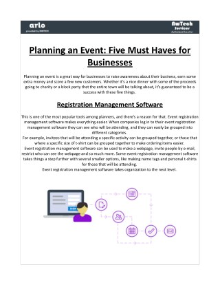 Planning an Event: Five Must Haves for Businesses By Nwtech-Services