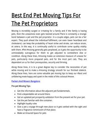 Best End Pet Moving Tips For The Pet Proprietors