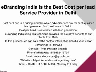 eBranding India is the Best Cost per lead Service Provider in Delhi
