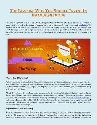 Need of Email Marketing Gives You a Reason of Investment