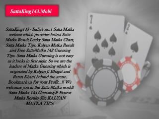 Get Fastest Satta Matka Result at SattaKing143