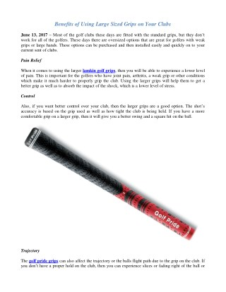 Try Golf Pride Grips on Your Clubs