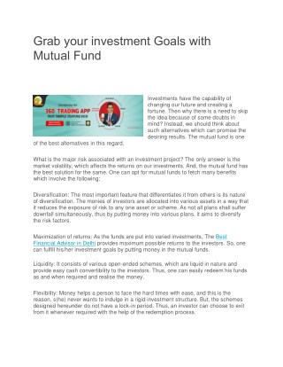 Grab your investment Goals with Mutual Fund