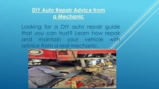 DIY Auto Repair Advice from a Mechanic